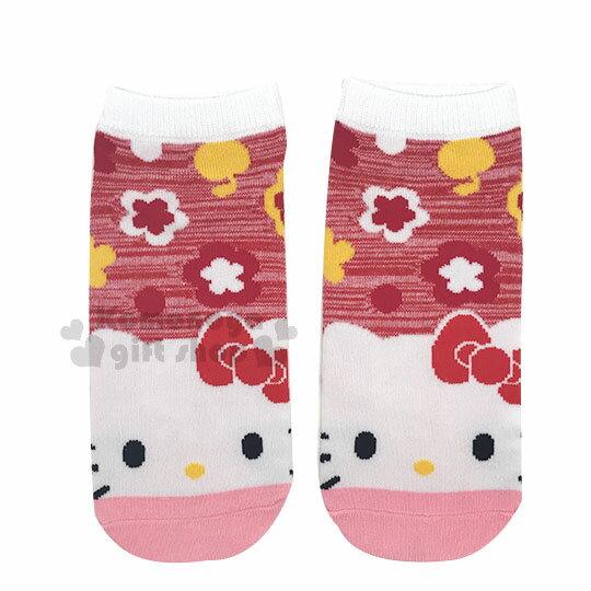 〔小禮堂〕Hello Kitty 成人及踝襪《粉紅.大臉.花》短襪.隱形襪.23-24cm適穿