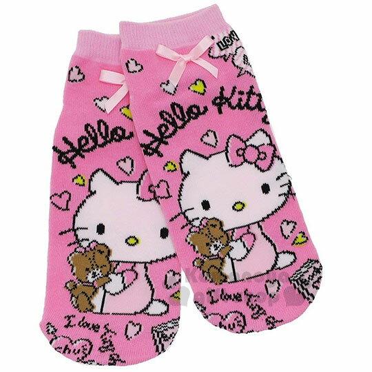 〔小禮堂〕Hello Kitty 成人及踝襪《粉.抱小熊.蝴蝶結》腳長22-24cm適穿.短襪.隱形襪