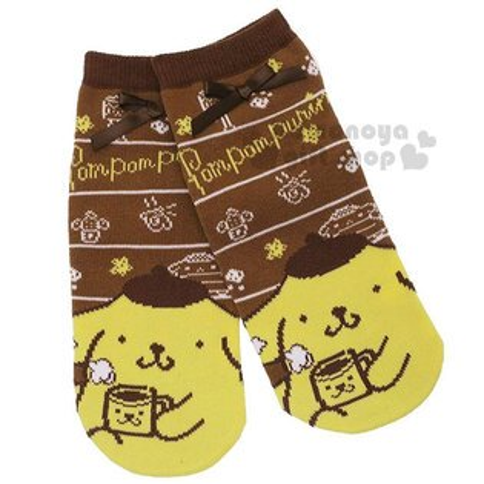 〔小禮堂〕布丁狗成人及踝襪《咖黃.蝴蝶結》腳長22-24cm適穿.短襪.隱形襪