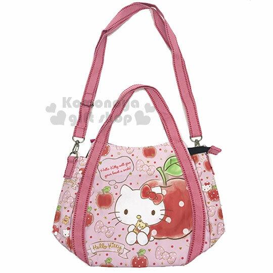〔小禮堂〕HelloKitty兩用帆布托特包《M.粉.蘋果.坐姿》手提包.側背包
