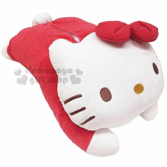 〔小禮堂〕HelloKitty絨毛造型面紙套《紅.趴姿》玩偶娃娃.抱枕