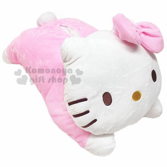 〔小禮堂〕HelloKitty絨毛造型面紙套《粉.趴姿》玩偶娃娃.抱枕