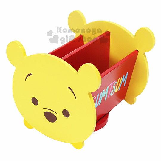 〔小禮堂〕迪士尼TsumTsum小熊維尼造型旋轉收納盒《黃紅.大臉》置物盒.飾品盒