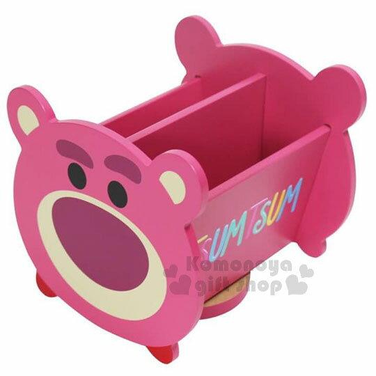 〔小禮堂〕迪士尼TsumTsum熊抱哥造型旋轉收納盒《桃.大臉》置物盒.飾品盒