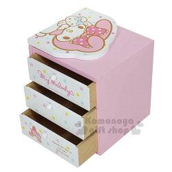 〔小禮堂〕美樂蒂 桌上型三抽書架收納盒《粉白.點點.抱兔子》抽屜盒.木製櫃