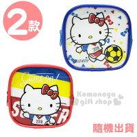 凱蒂貓週邊商品推薦到〔小禮堂〕Hello Kitty 拉鍊方形零錢包《2款隨機.紅/藍.踢足球》收納包