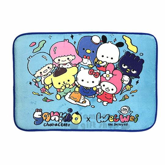 〔小禮堂〕Sanrio大集合腳踏墊《藍.多角色》64x43cm.止滑海棉軟墊