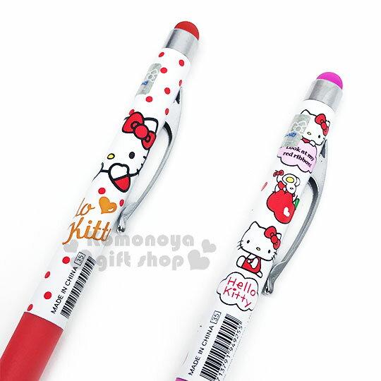 〔小禮堂〕Hello Kitty 旋轉觸控原子筆《2款隨機.紅 / 粉.點點.蘋果》藍色墨水 1