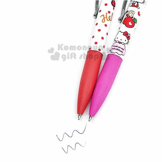 〔小禮堂〕Hello Kitty 旋轉觸控原子筆《2款隨機.紅 / 粉.點點.蘋果》藍色墨水 2