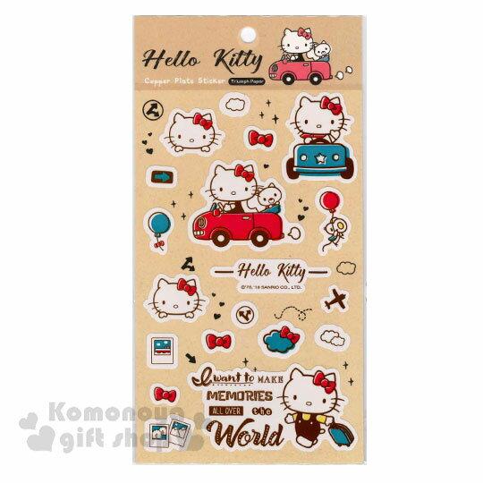 〔小禮堂〕Hello Kitty 造型貼紙《米黃.開車.行李箱》裝飾用