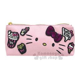 〔小禮堂〕Hello Kitty 皮革拉鍊筆袋《粉.大臉.刺繡.亮片》筆盒.化妝包