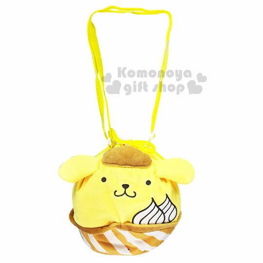 〔小禮堂〕布丁狗造型絨毛束口斜背袋《黃.奶油.冰淇淋》斜背包.側背包