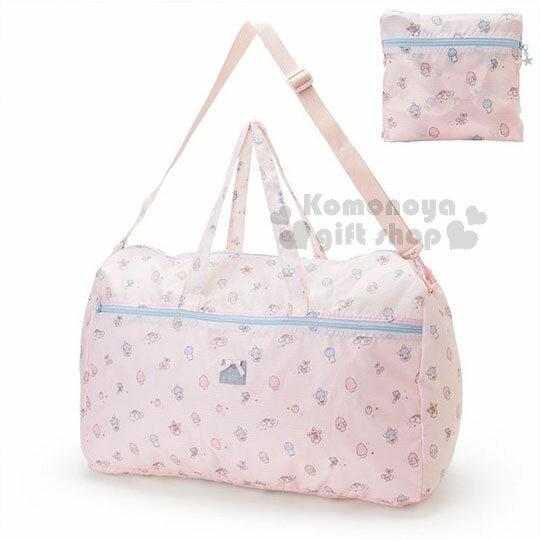 〔小禮堂〕雙子星折疊尼龍拉桿行李袋《淺粉.星星.草莓.滿版》旅行袋.收納袋