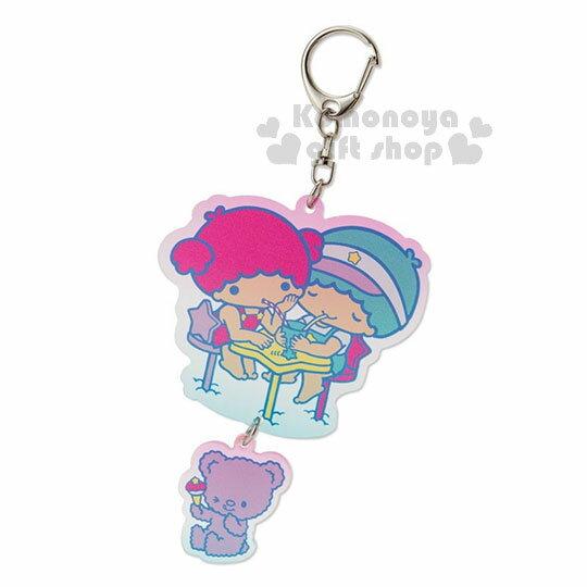 〔小禮堂〕雙子星壓克力造型鑰匙圈《粉綠.喝果汁》吊飾.掛飾.繽紛暑假系列