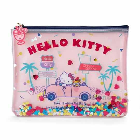 〔小禮堂﹞HelloKitty防水扁平化妝包《粉.開車.亮片》收納包.繽紛暑假系列