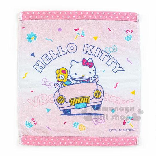 〔小禮堂〕HelloKitty棉質方形毛巾《粉.開車》34x36cm.繽紛暑假系列