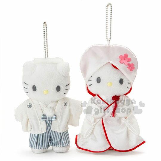 〔小禮堂〕HelloKittyxDaniel絨毛玩偶吊飾組《2入.結婚和服》掛飾.娃娃