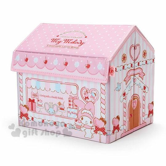 〔小禮堂〕美樂蒂屋型折疊式收納箱《粉.禮品店》置物箱.玩具箱