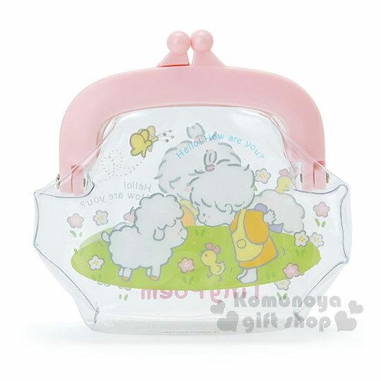 〔小禮堂〕Sanrio 小詩人 防水口金零錢包《粉.透明.抱兔子》收納包.錢包 1