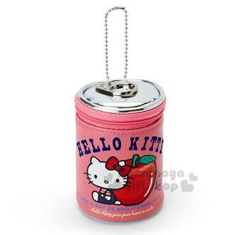 〔小禮堂〕Hello Kitty 罐頭造型化妝包《桃粉.蘋果》吊飾.零錢包.收納包