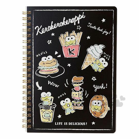 〔小禮堂〕大眼蛙日製線圈筆記本《黑.食物》橫式內頁.美食大賞系列