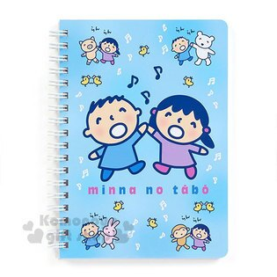 〔小禮堂〕大寶日製線圈筆記本《B6.藍.音符》橫式內頁.淘氣朋友系列