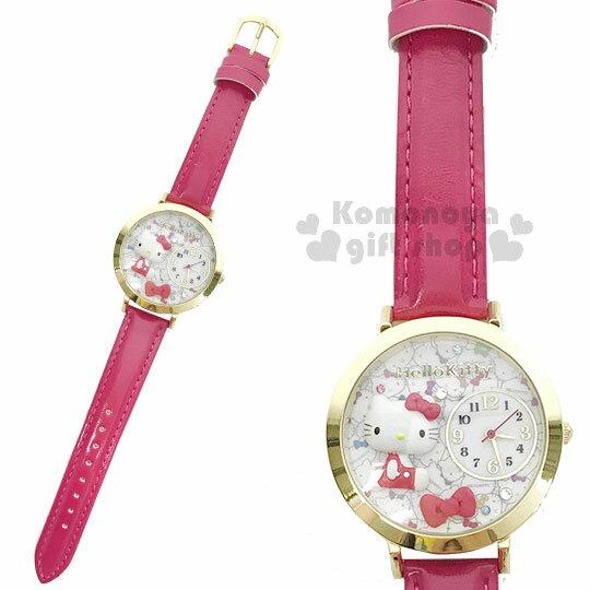〔小禮堂〕HelloKitty日製皮革手錶《桃.側坐.大臉》腕錶.淑女錶.精緻盒裝
