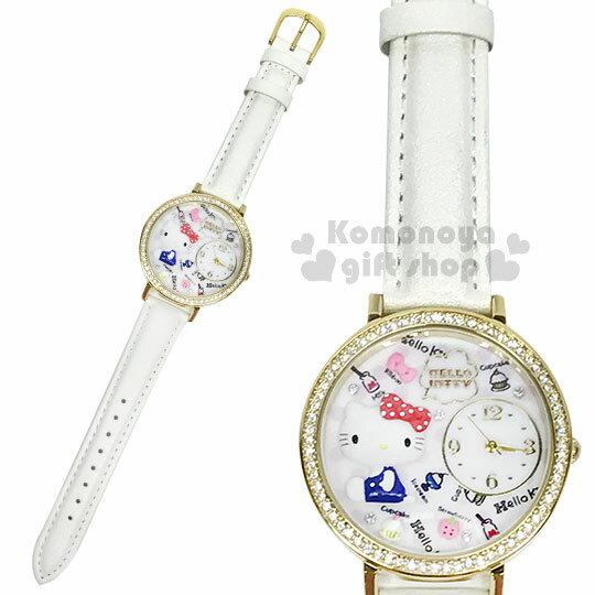 〔小禮堂〕HelloKitty日製皮革手錶《白.側坐.點點》腕錶.淑女錶.精緻盒裝