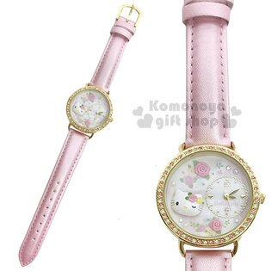 〔小禮堂〕HelloKitty日製皮革手錶《淡粉.大臉.玫瑰》腕錶.淑女錶.精緻盒裝