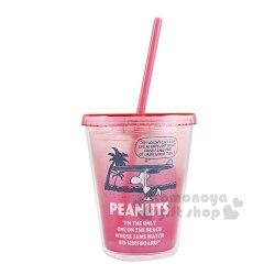 〔小禮堂〕史努比 塑膠吸管杯《桃粉.海灘.衝浪板》310ml.飲料杯.水杯