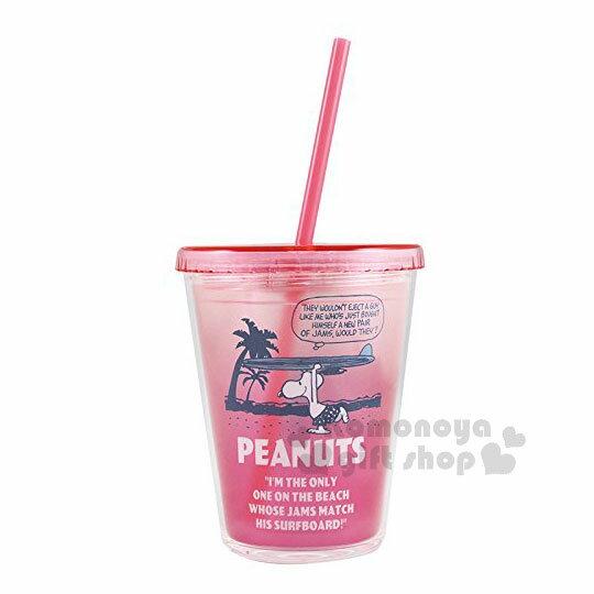 〔小禮堂〕史努比塑膠吸管杯《桃粉.海灘.衝浪板》310ml.飲料杯.水杯