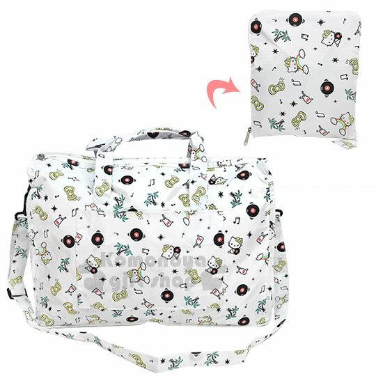 〔小禮堂〕HelloKitty折疊尼龍拉桿行李袋《L.白.椰子樹.滿版》旅行袋.收納袋
