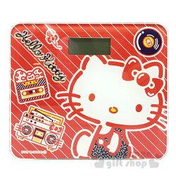 〔小禮堂〕Hello Kitty 電子體重計《紅.點點.側坐.唱片》體重機