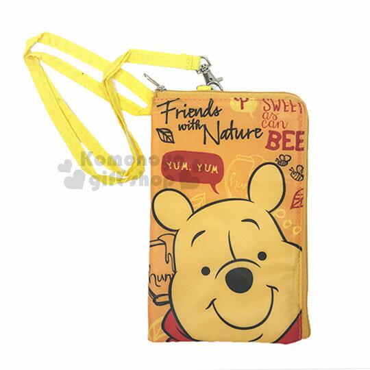 〔小禮堂〕迪士尼小熊維尼尼龍手機包附繩《橘.大臉.文字.蜂蜜》收納包