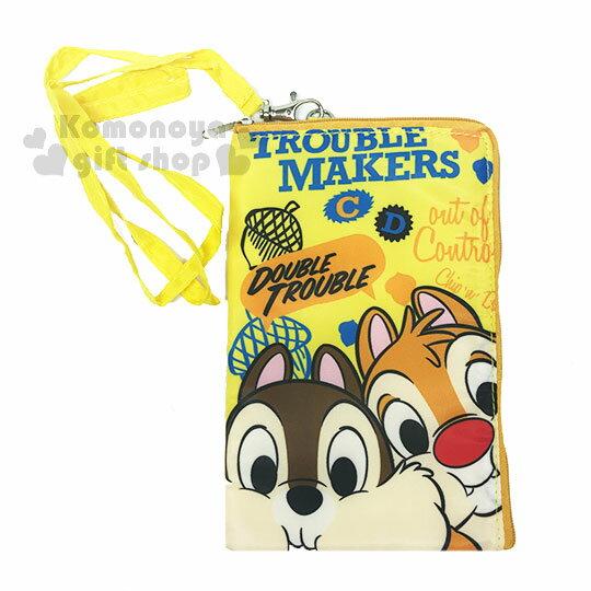 〔小禮堂〕迪士尼奇奇蒂蒂尼龍手機包附繩《黃.大臉.文字.松果》附繩收納包