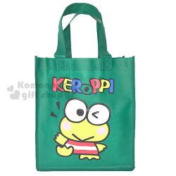 〔小禮堂〕大眼蛙 不織布購物手提袋《綠.站姿》環保袋
