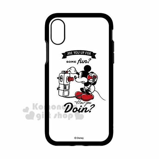 〔小禮堂〕迪士尼米奇iPhoneX全包式塑膠手機殼《白.講電話》硬殼.日本IIIIfi+