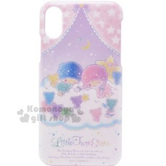 〔小禮堂〕雙子星iPhoneX塑膠手機殼《粉紫.窗簾.彩虹熊》硬殼