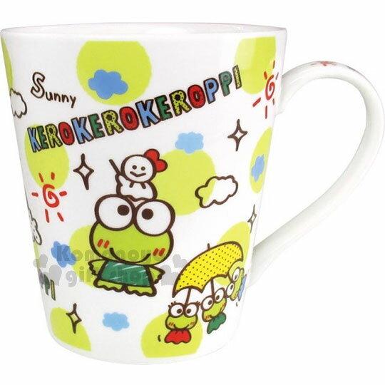 〔小禮堂〕大眼蛙陶瓷馬克杯《綠點.雲朵.彩虹.滿版》咖啡杯.盒裝
