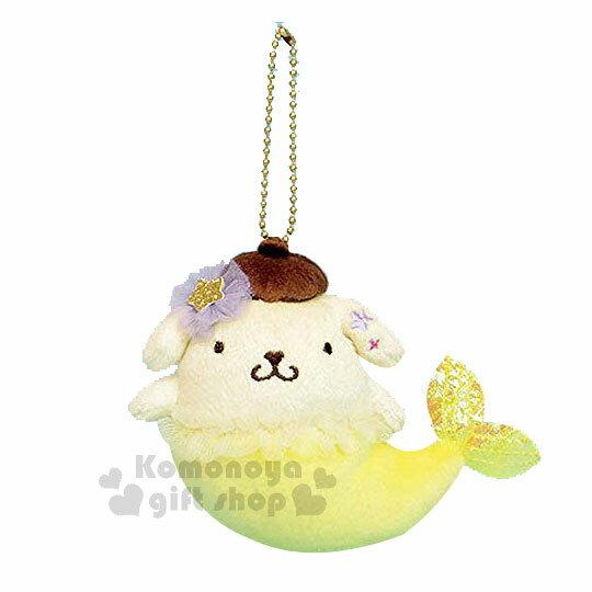 〔小禮堂〕布丁狗美人魚造型絨毛玩偶吊飾《黃.星星》掛飾.鑰匙圈