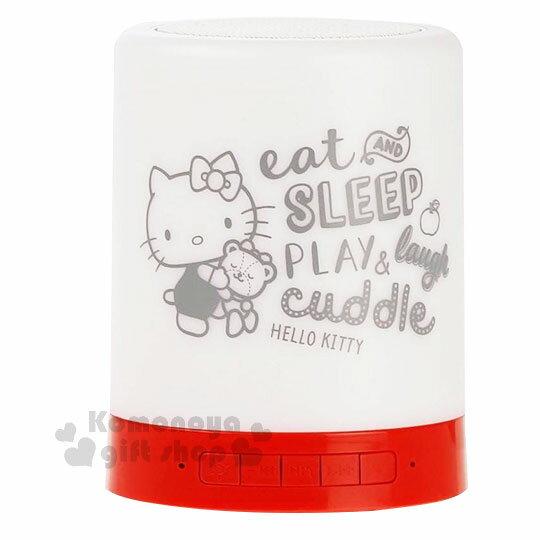 〔小禮堂〕HelloKittyLED藍牙喇叭觸控夜燈《紅白.抱小熊》露營用品.床頭燈