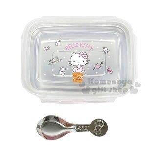 〔小禮堂〕HelloKitty方形不鏽鋼四面扣便當盒《粉.側坐.點點》360ml.附湯匙.環保碗
