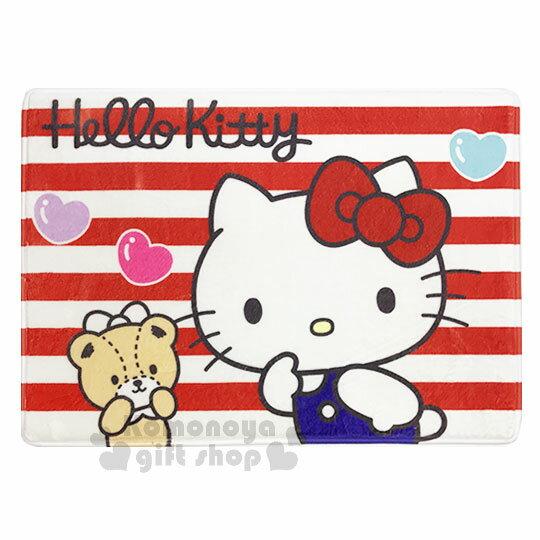 〔小禮堂〕Hello Kitty 腳踏墊《紅白.條紋.小熊》64x45cm.止滑海棉軟墊.地墊 0