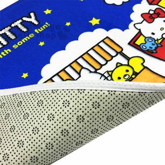 〔小禮堂〕Hello Kitty 腳踏墊《藍白.火車.星星》64x45cm.止滑海棉軟墊.地墊 2