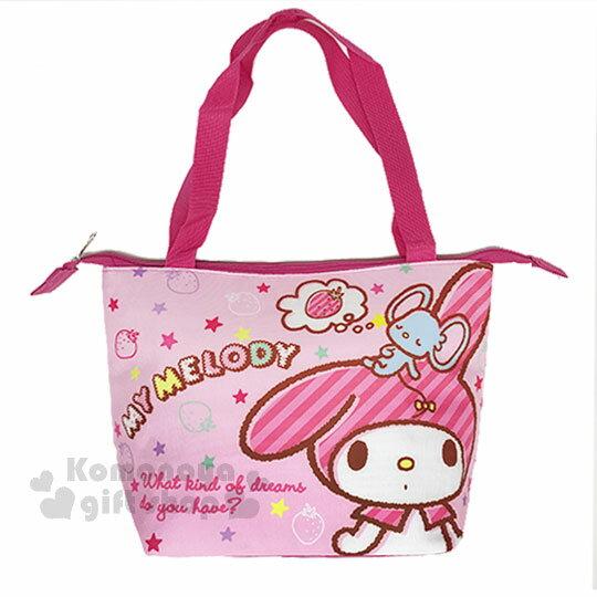 〔小禮堂〕美樂蒂帆布便當袋《粉.草莓.站姿》野餐袋.手提袋.保溫保冷