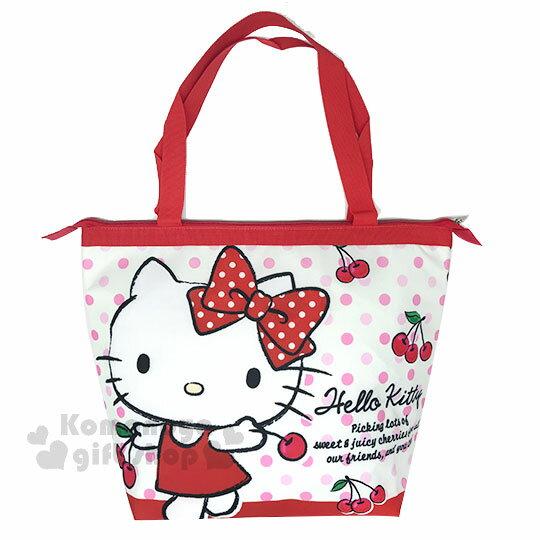 〔小禮堂〕HelloKitty帆布肩背袋《L.紅白.櫻桃》野餐袋.便當袋.保溫保冷