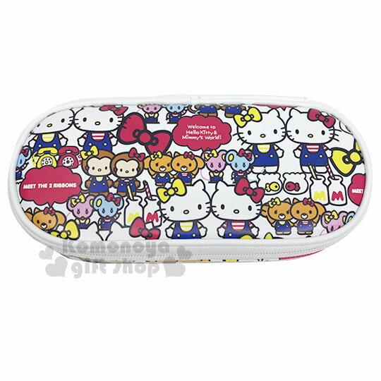 〔小禮堂〕Hello Kitty 皮質掀蓋拉鍊筆袋《白.Mimmy》化妝包.收納包