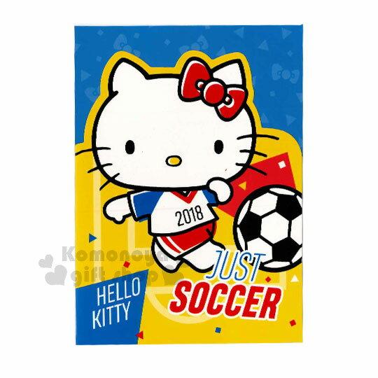 〔小禮堂〕Hello Kitty 造型萬用卡片《黃.踢足球》附信封.賀卡