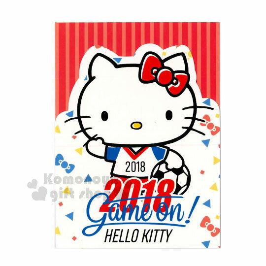 〔小禮堂〕Hello Kitty 造型萬用卡片《白.足球.招手》附信封.賀卡