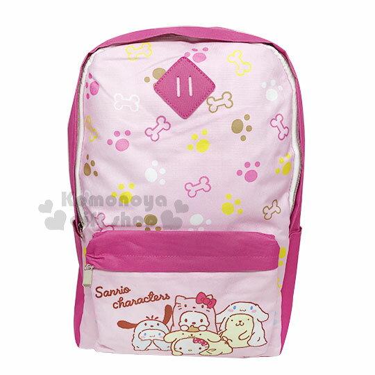 〔小禮堂〕Sanrio大集合帆布後背包《L.粉.變裝.滿版》書包